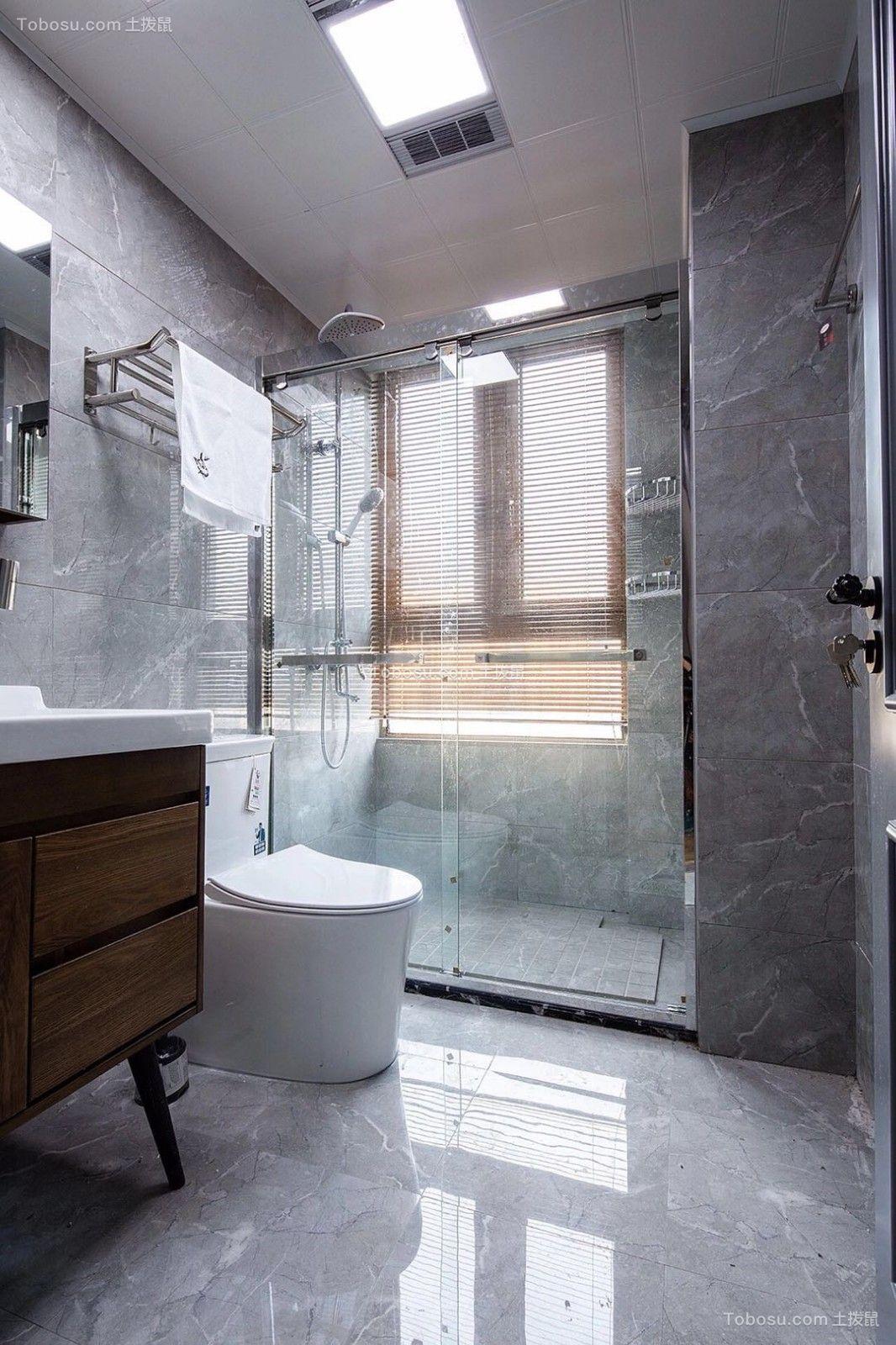 卫生间灰色地砖北欧风格装修设计图片