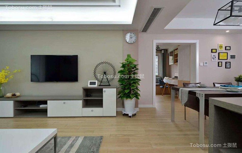 客厅米色电视柜现代风格装修图片