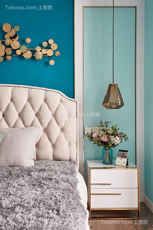 卧室白色床头柜混搭风格装修效果图