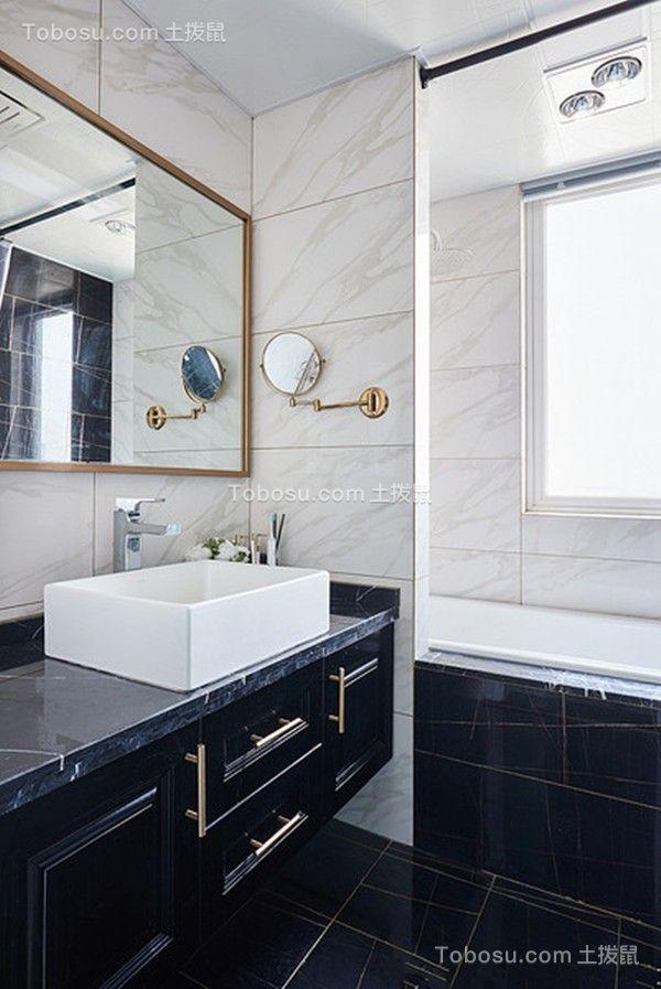 卫生间黑色洗漱台混搭风格装饰效果图