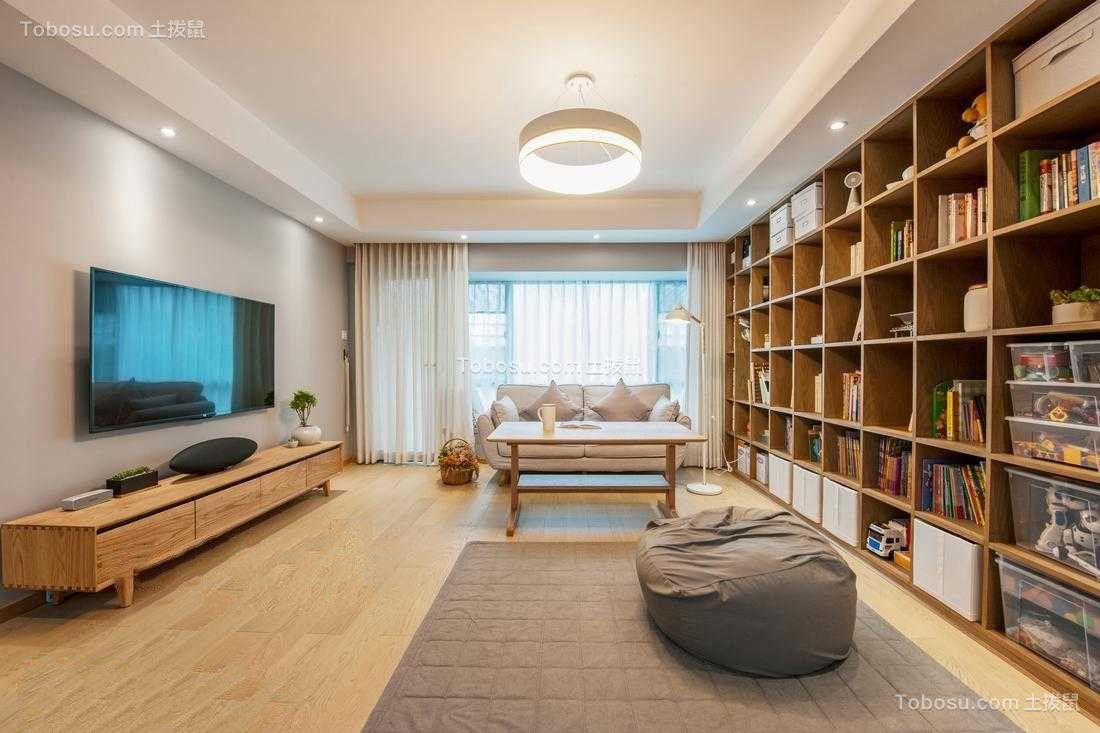客厅黄色书架日式风格装饰效果图