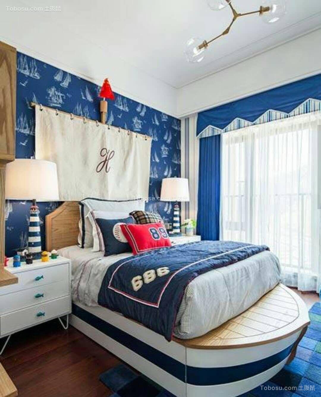 卧室蓝色窗帘简约风格装潢图片