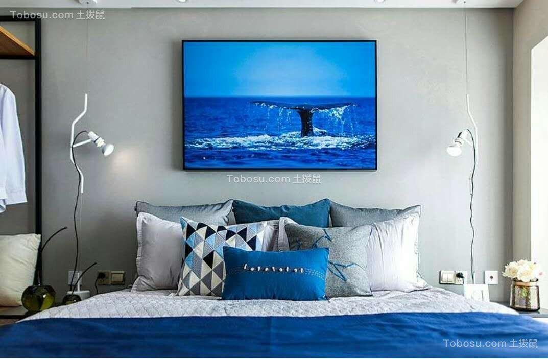 卧室灰色背景墙简约风格装潢设计图片