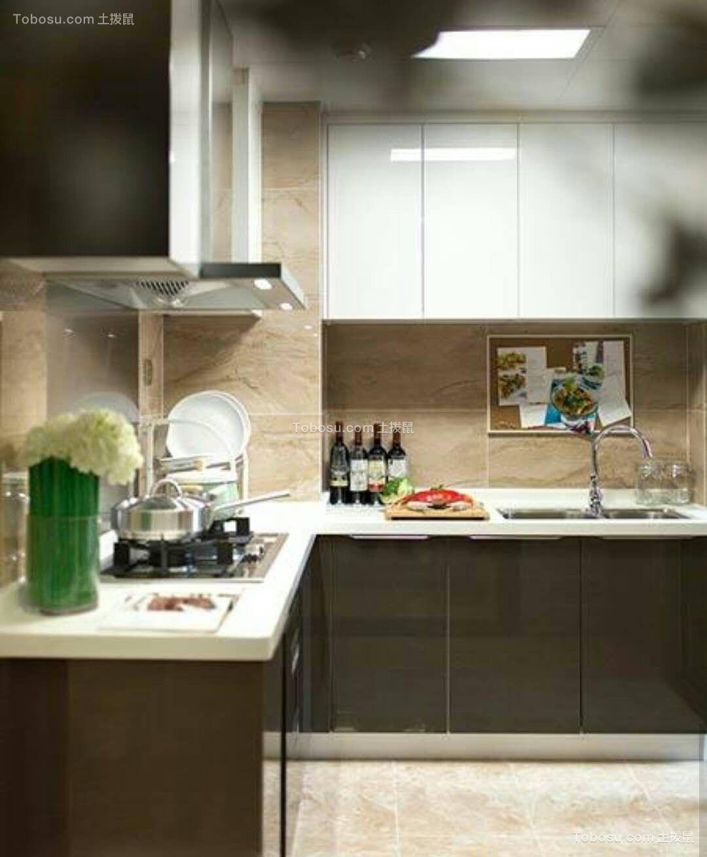 厨房咖啡色橱柜简约风格效果图
