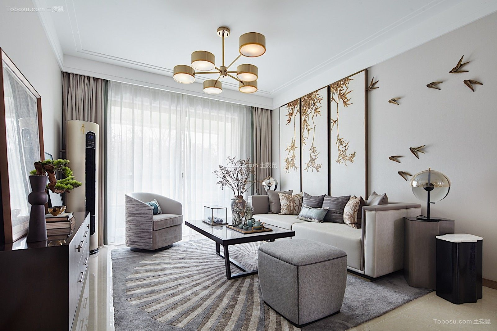 106平现代中式风格三居室装修效果图