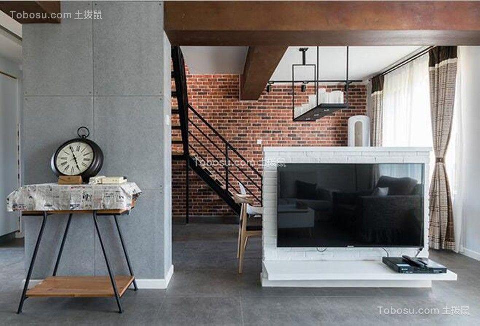 客厅白色电视背景墙混搭风格装潢效果图