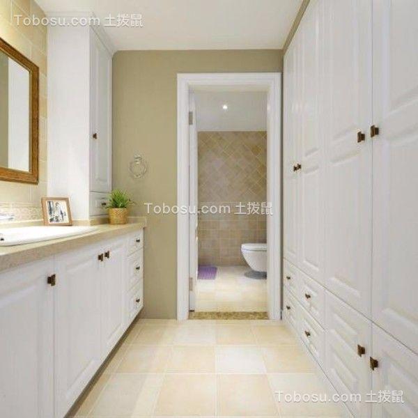 卫生间黄色地砖美式风格装潢设计图片
