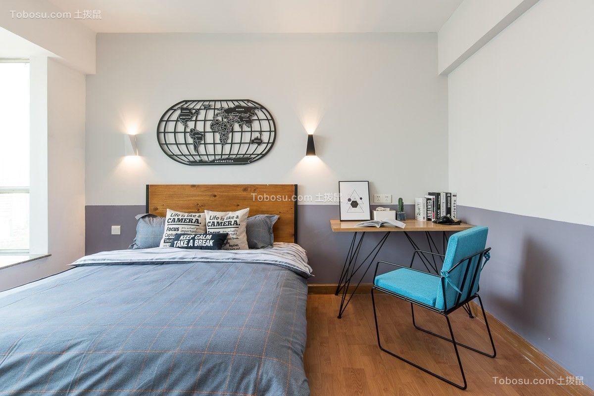 卧室黄色书桌混搭风格装修设计图片