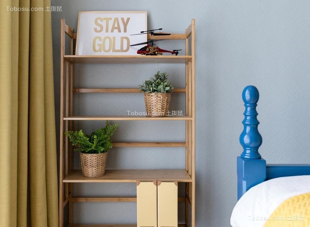 儿童房黄色书架美式风格装修设计图片