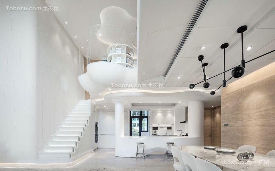 沉稳现代白色楼梯装潢设计图片
