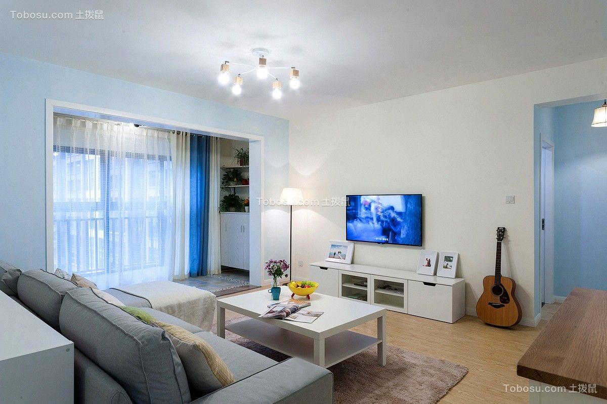 2018简约客厅装修设计 2018简约电视柜装修效果图片
