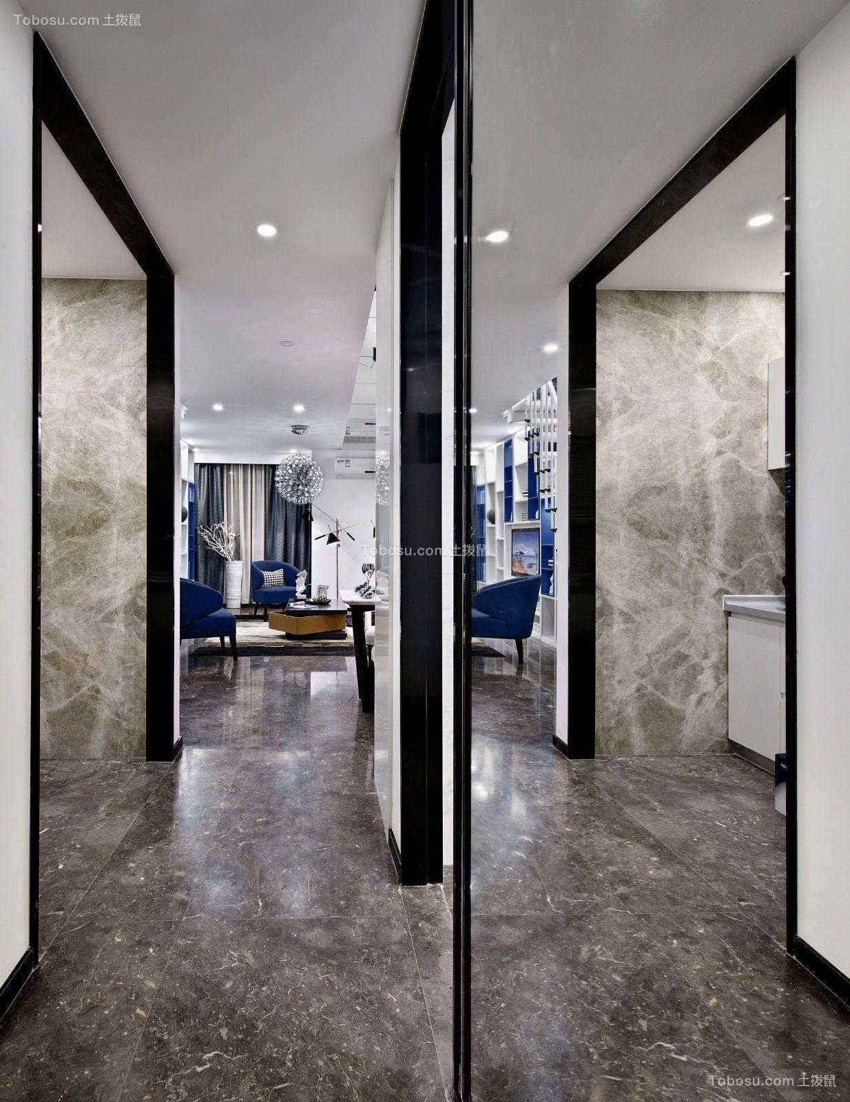 卫生间黑色地砖北欧风格效果图