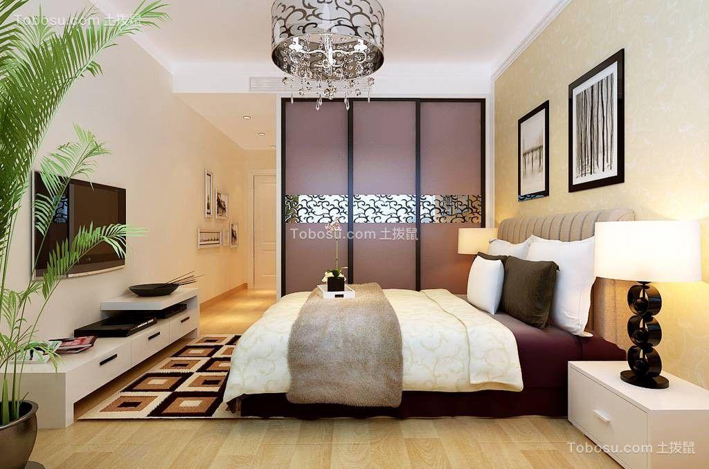 高贵风雅紫色卧室装潢实景图