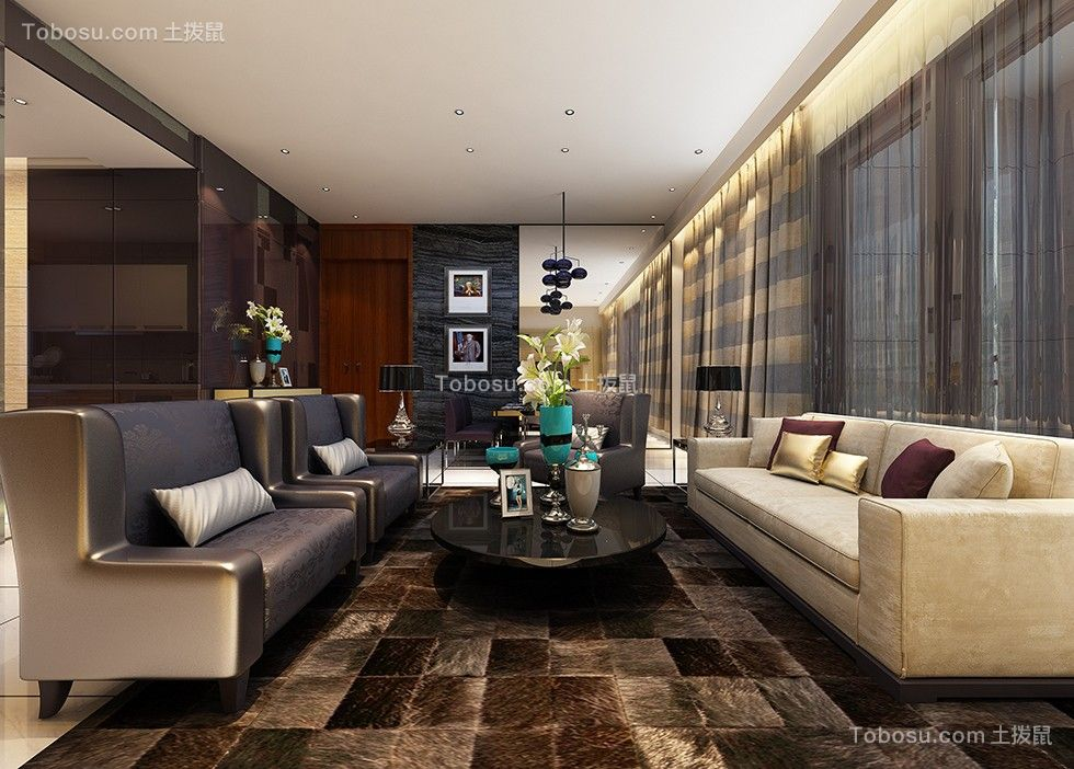109平现代风格三居室装修效果图