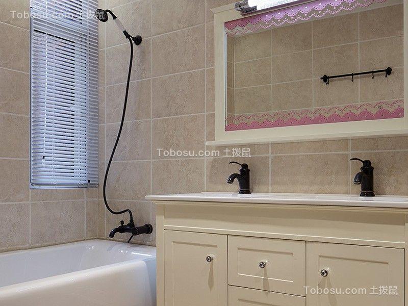 卫生间米色背景墙美式风格装潢图片