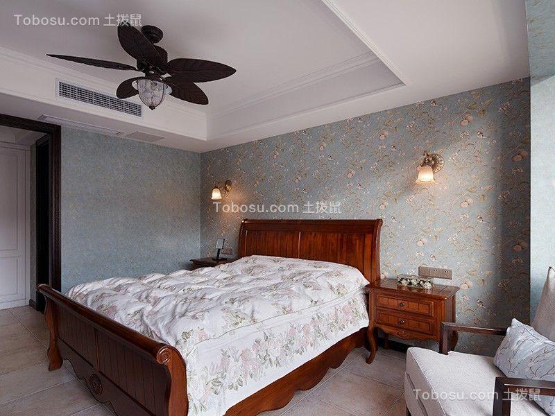 卧室红色床美式风格装修设计图片