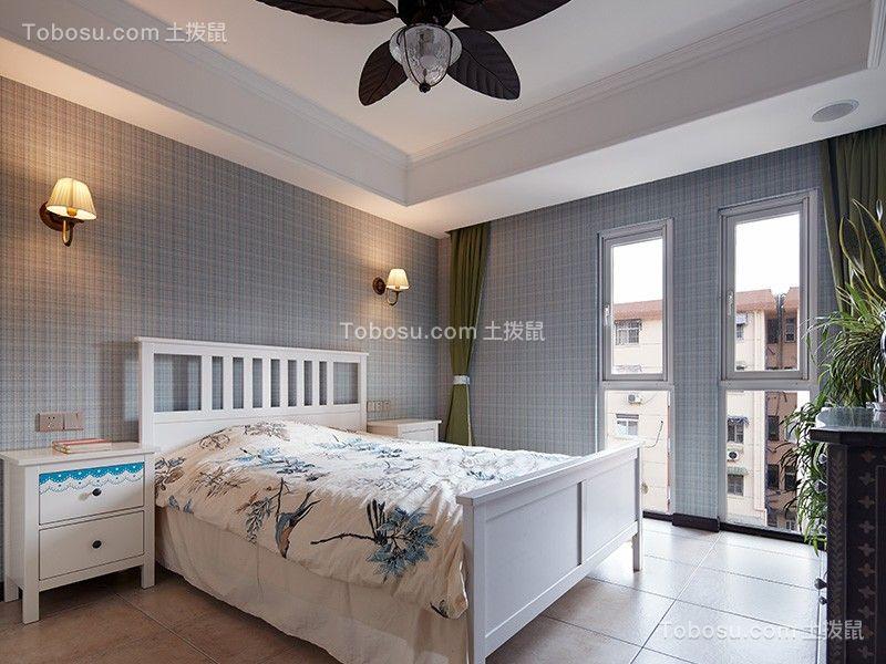 卧室灰色背景墙美式风格装饰设计图片