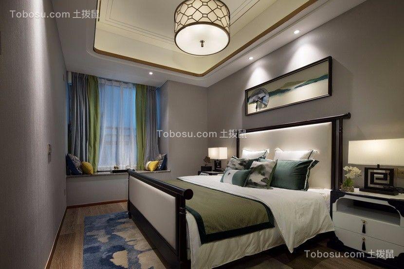 卧室灰色背景墙新中式风格装修效果图