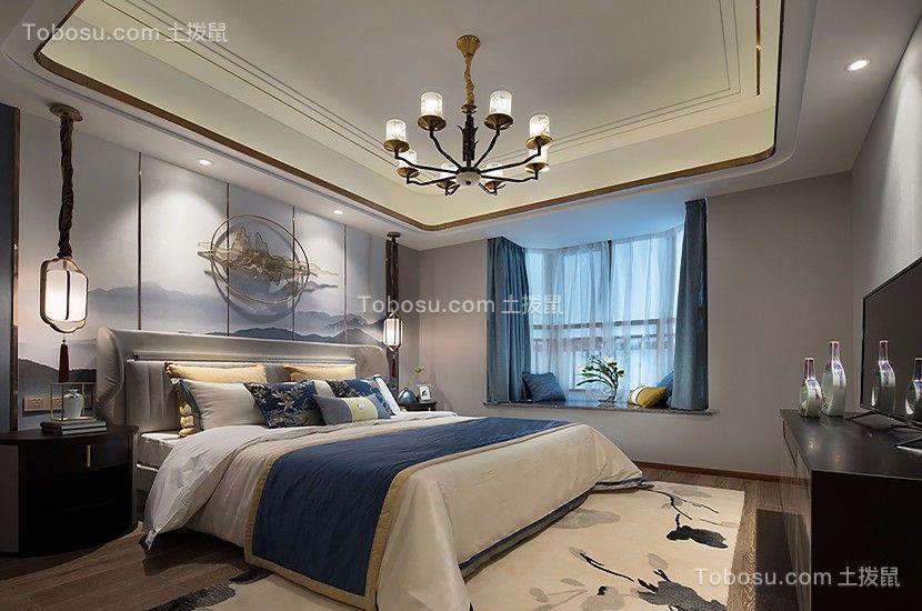 卧室灰色床新中式风格装饰效果图