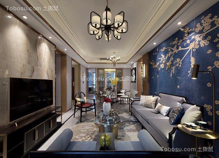 客厅蓝色背景墙新中式风格装修图片