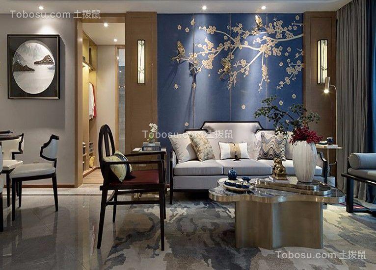 客厅灰色沙发新中式风格装饰图片
