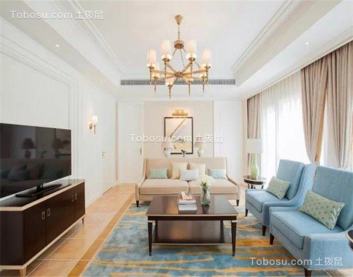客厅米色窗帘新古典风格装修效果图