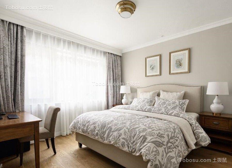 卧室灰色窗帘简欧风格装修效果图