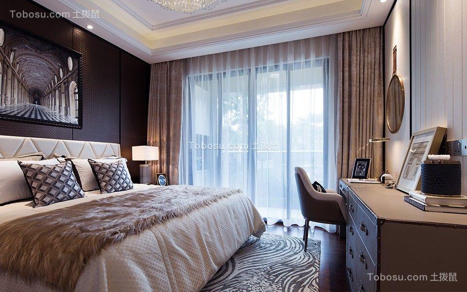 卧室米色窗帘现代风格装饰图片