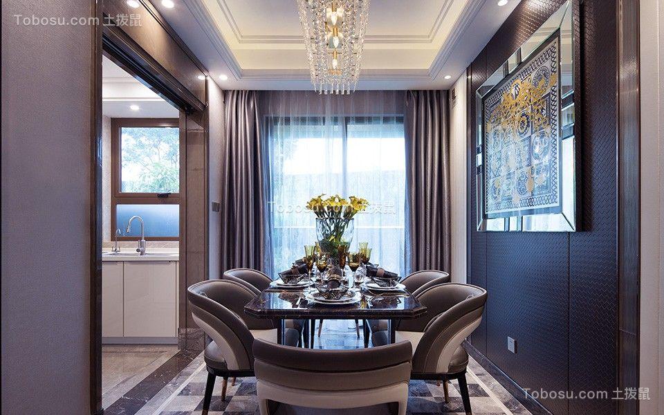 餐厅咖啡色餐桌现代风格装修设计图片