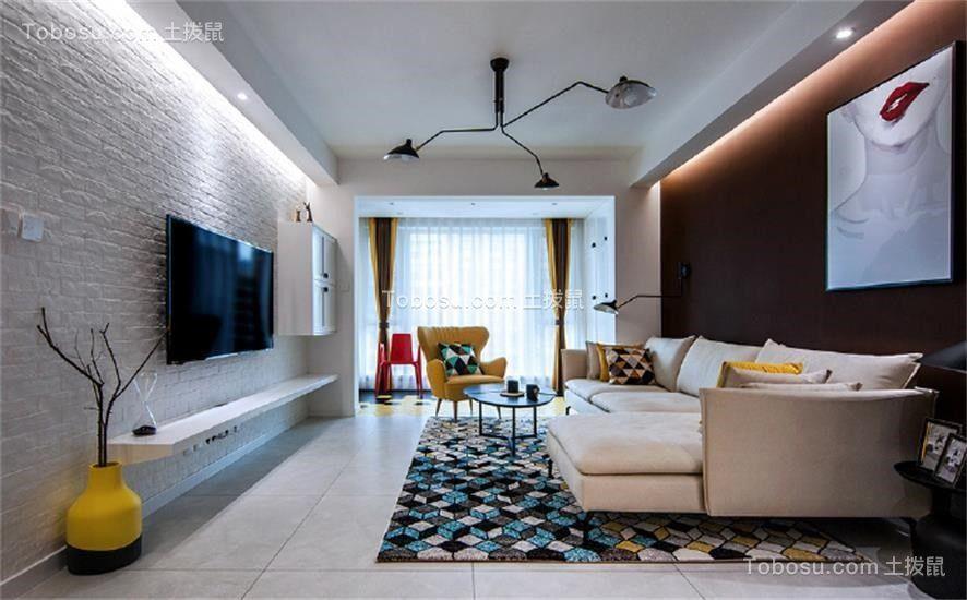 客厅米色沙发欧式风格装修设计图片
