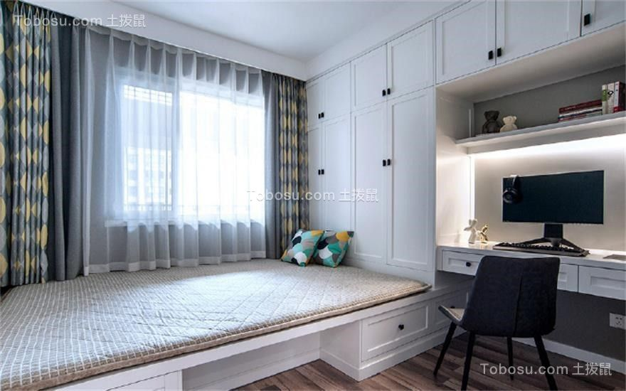 卧室白色榻榻米欧式风格装饰设计图片