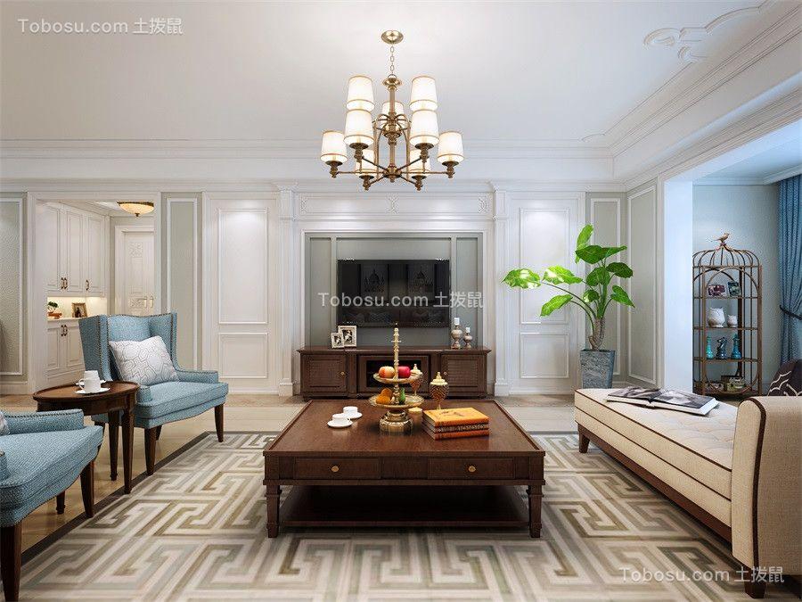 170平美式风格三居室装修效果图