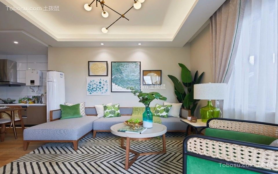 76平东南亚风格两居室装修效果图