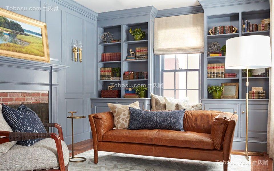 书房黄色沙发美式风格装潢图片