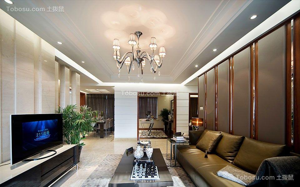 客厅咖啡色背景墙简约风格装饰设计图片