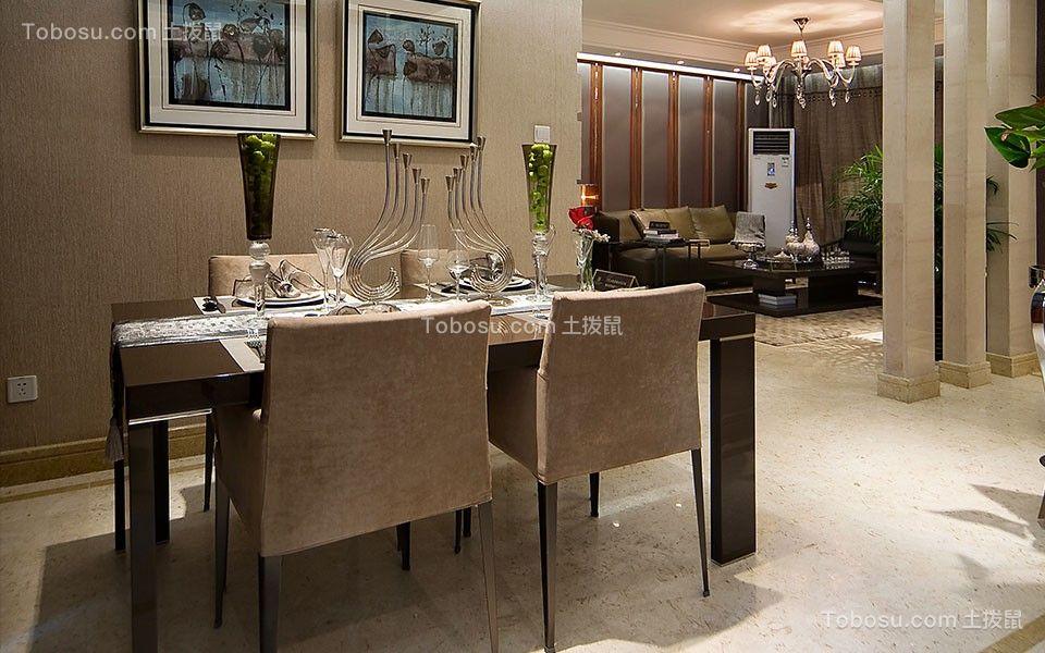 餐厅黑色餐桌简约风格装潢设计图片
