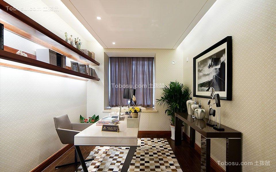 书房白色书桌简约风格装潢效果图