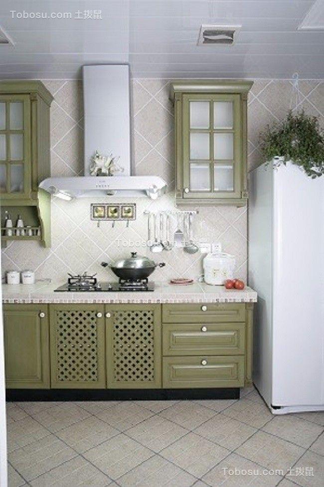 简洁绿色田园风格厨房装潢图