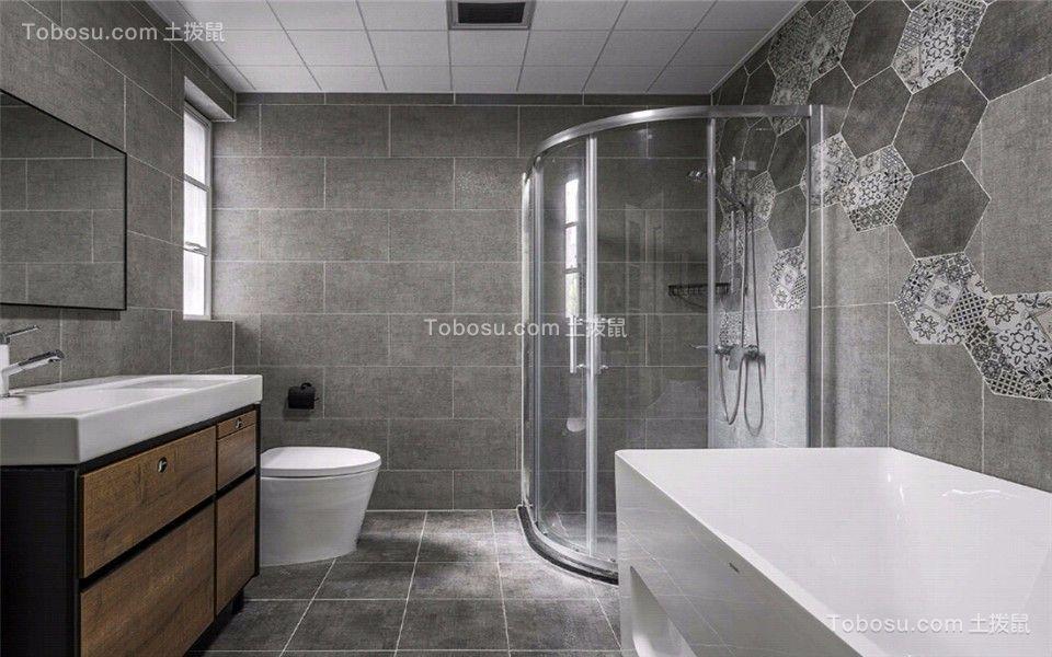 卫生间灰色地砖北欧风格装饰设计图片