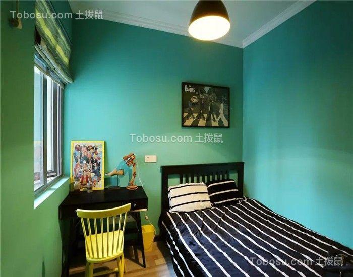 卧室黑色书桌混搭风格装饰设计图片