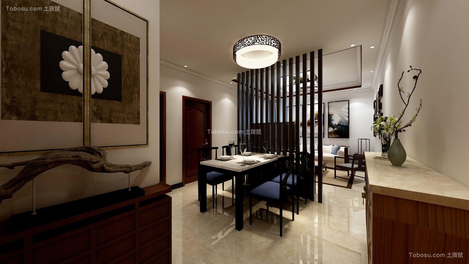 餐厅白色餐桌中式风格装修图片