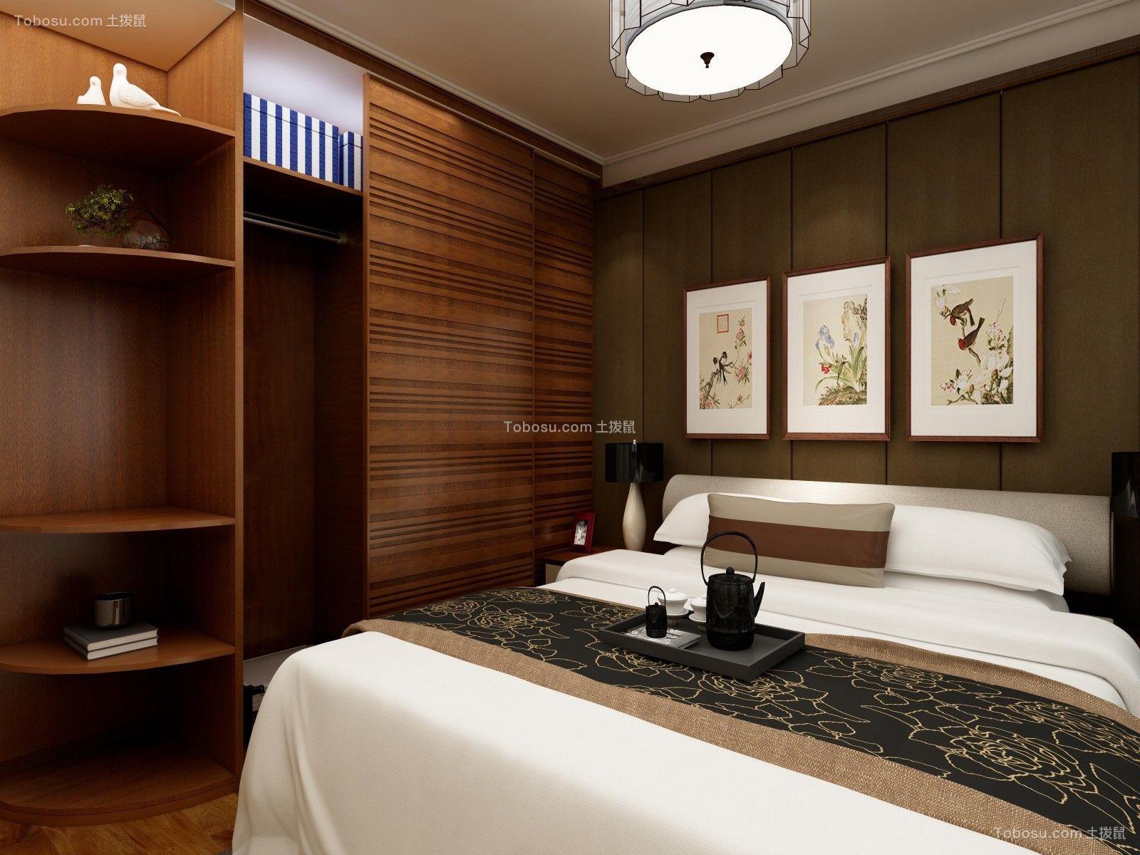 卧室咖啡色衣柜中式风格装饰设计图片