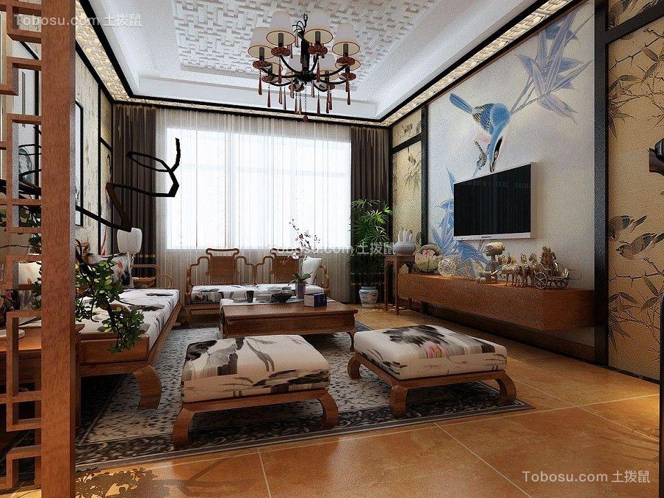118平新中式风格三居室装修效果图图片