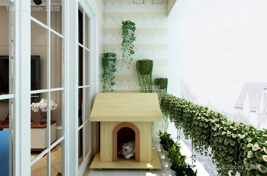 阳台米色推拉门田园风格装饰图片