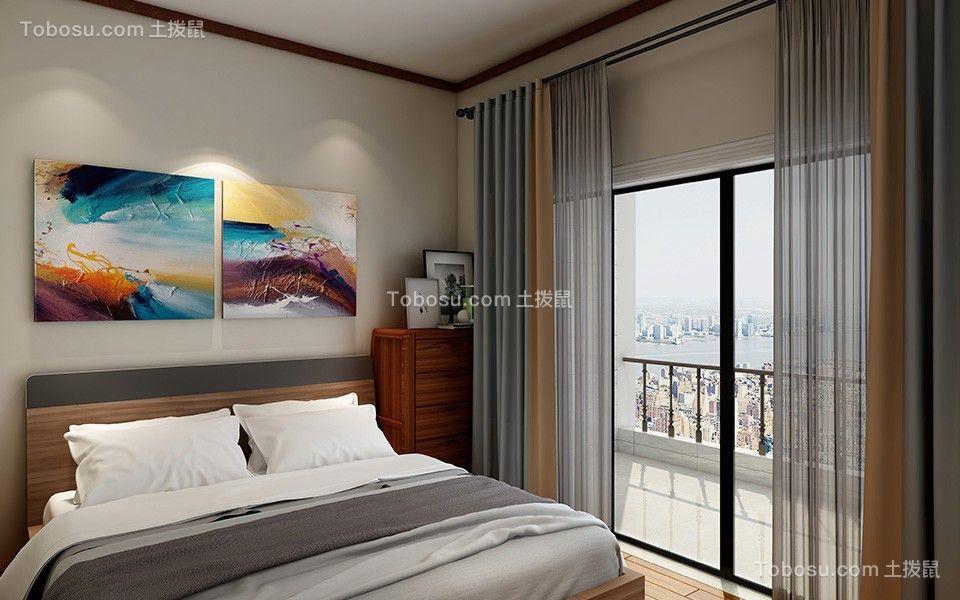 卧室灰色窗帘装潢设计图片
