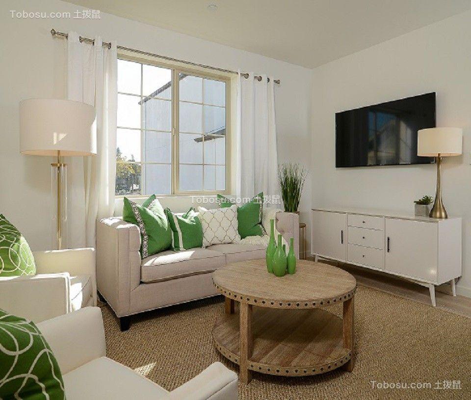 95平美式风格两居室装修效果图