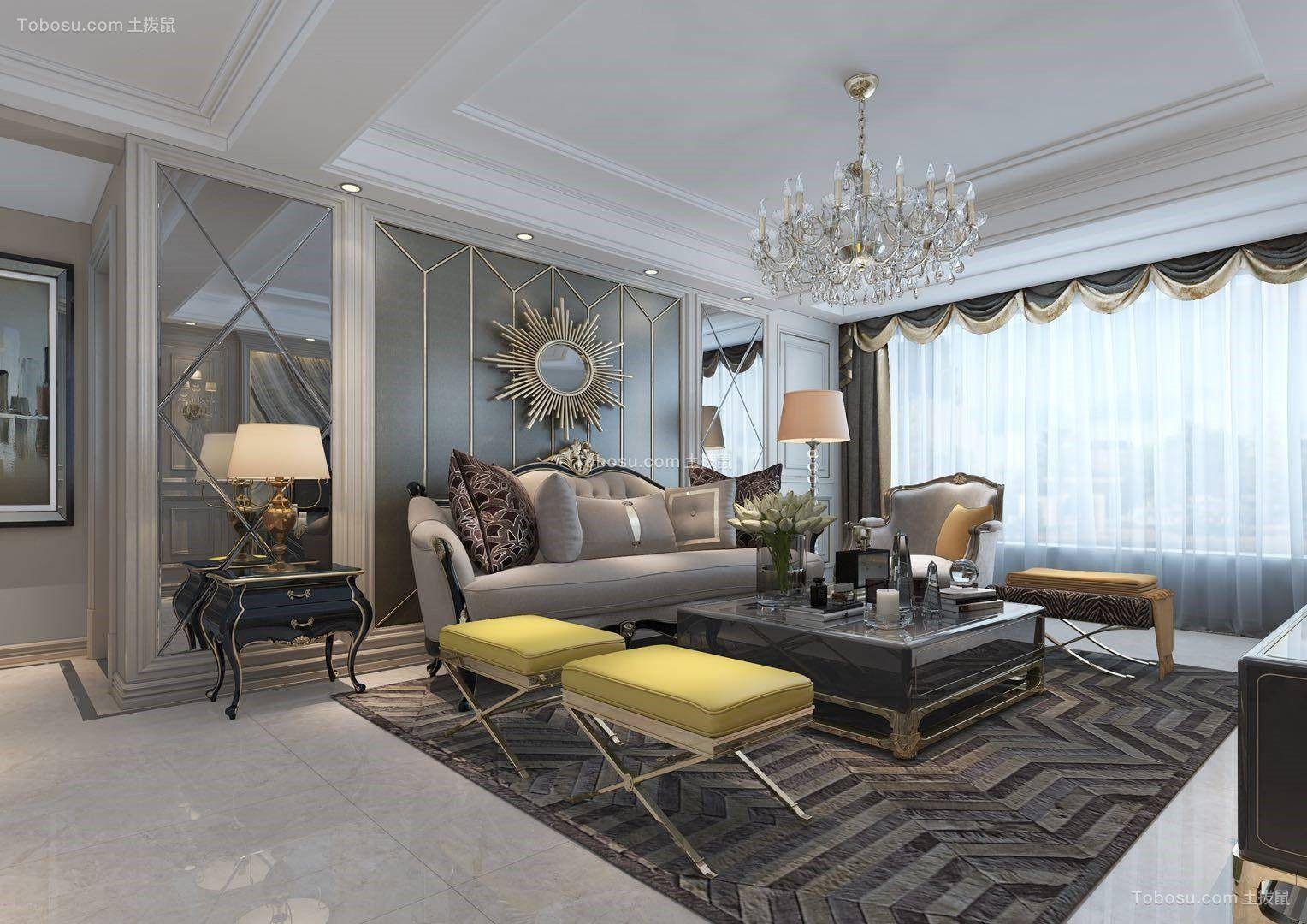 130平欧式风格三居室装修效果图