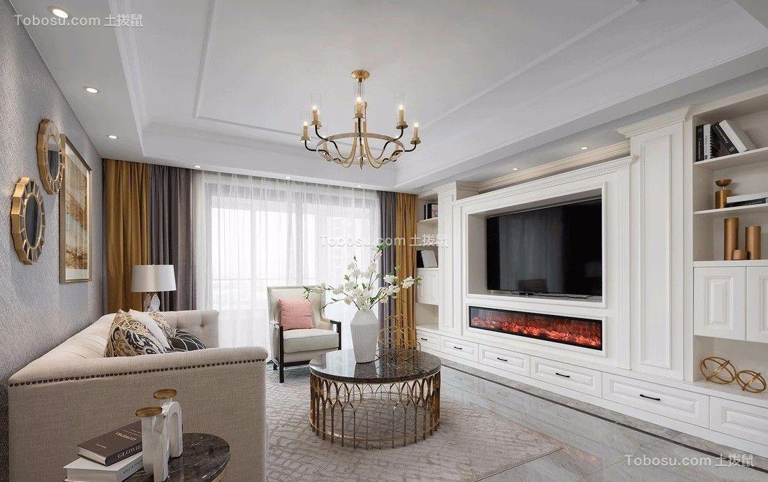 168平美式风格三居室装修效果图