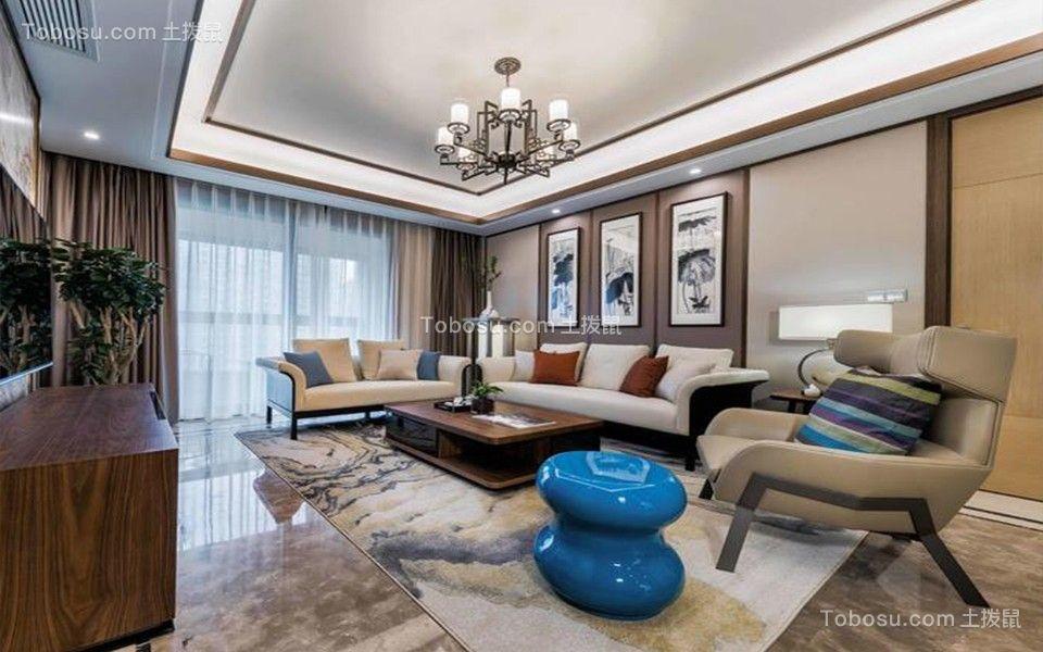 112平现代中式风格三居室装修效果图