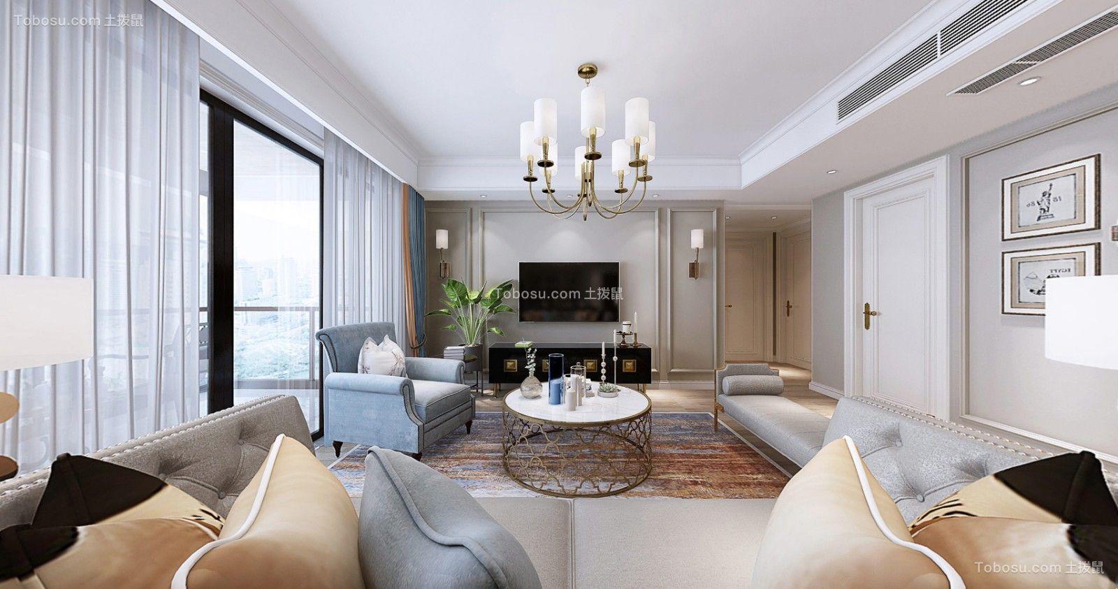 180平美式风格四居室装修效果图